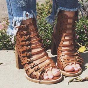 ISO buckle strap block sandal bootie